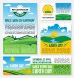 Moldes da natureza do planeta das economias do vetor para o Dia da Terra Imagem de Stock