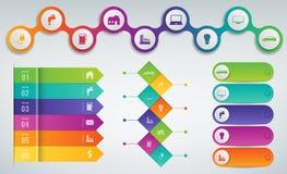 moldes de 3D Infographics ajustados Conceito da apresentação do negócio Vetor Fotografia de Stock