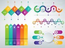 moldes de 3D Infographics ajustados Conceito da apresentação do negócio Vetor Imagens de Stock Royalty Free