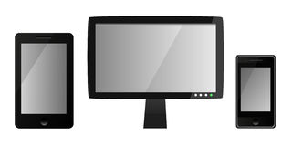 Moldes de dispositivos digitais vazios - monitor do lcd, telefone esperto e tabuleta Fotografia de Stock