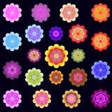 Moldes de flores estilizados coloridas brilhantes Foto de Stock Royalty Free