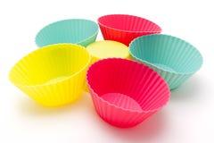 Moldes de pastelaria coloridos do silicone Fotografia de Stock