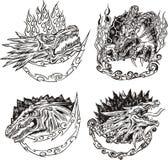 Moldes decorativos com cabeças do dragão Foto de Stock Royalty Free