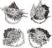 Moldes decorativos com cabeças do dragão Imagens de Stock