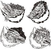Moldes decorativos com cabeças do dragão Imagem de Stock