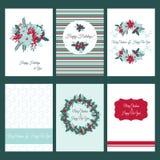 Moldes do cartão de Natal ajustados Imagens de Stock