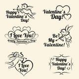 Moldes do cartão do vintage do dia de Valentim das bandeiras Fotos de Stock