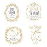 Moldes do convite da festa do bebê ajustados Ilustração tirada mão do vintage Fotografia de Stock