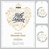 Moldes do convite da festa do bebê ajustados Ilustração tirada mão do vintage Fotos de Stock Royalty Free