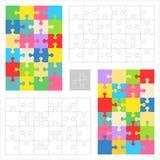 Moldes do espaço em branco do enigma de serra de vaivém, testes padrões coloridos Fotos de Stock Royalty Free