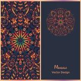 Moldes do folheto com teste padrão étnico Mandala do cartão Imagens de Stock Royalty Free