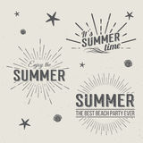 Moldes do logotipo das horas de verão Rotulação dos feriados ilustração do vetor