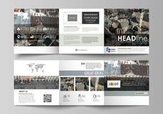 Moldes do negócio para folhetos quadrados dobráveis em três partes do projeto Tampa do folheto, disposição lisa abstrata, vetor e Imagens de Stock Royalty Free