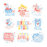 Moldes do projeto da cópia da sala do berçário do bebê ajustados na maneira feminino bonito com mensagens de texto ilustração royalty free