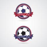 Moldes do projeto do logotipo do crachá do futebol do futebol Fotografia de Stock Royalty Free