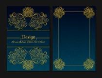 Moldes do projeto do vetor Molde do diploma Escuro - cor azul Imagem de Stock