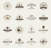 Moldes do projeto dos logotipos do restaurante do vintage ajustados Imagem de Stock Royalty Free