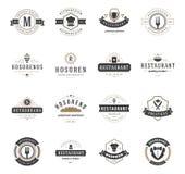 Moldes do projeto dos logotipos do restaurante do vintage ajustados Foto de Stock