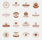Moldes do projeto dos logotipos do restaurante do vintage ajustados Foto de Stock Royalty Free