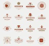 Moldes do projeto dos logotipos do restaurante do vintage ajustados Elementos do projeto do vetor Imagem de Stock Royalty Free