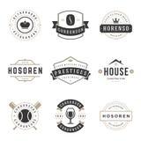 Moldes do projeto dos logotipos do vintage ajustados Imagem de Stock
