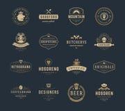 Moldes do projeto dos logotipos do vintage ajustados Foto de Stock