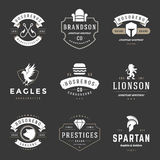 Moldes do projeto dos logotipos do vintage ajustados Coleção dos elementos dos logotypes do vetor Imagens de Stock Royalty Free