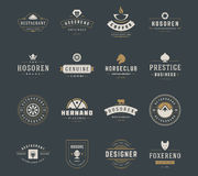 Moldes do projeto dos logotipos do vintage ajustados Elementos do projeto do vetor, Logo Elements Imagem de Stock Royalty Free