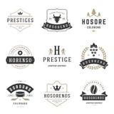 Moldes do projeto dos logotipos do vintage ajustados Elementos dos logotypes do vetor Fotos de Stock