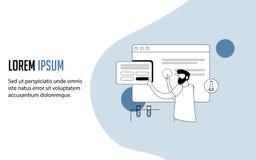 Moldes do projeto do página da web conceito da ilustração do vetor para o Web site e o desenvolvimento móvel do Web site ilustração stock