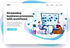 Moldes do projeto do página da web para processos de negócios da aerodinâmica com trabalhos ilustração stock