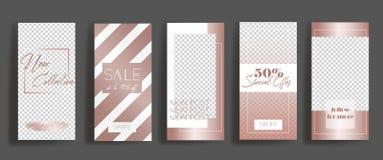 Moldes do quadro das histórias de Instagram Modelo para a bandeira social dos meios projeto cor-de-rosa da disposição do ouro ilustração stock