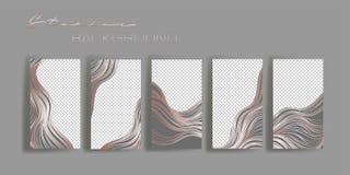 Moldes do quadro das histórias de Instagram Modelo para a bandeira social dos meios Rosa e projeto abstrato cinzento da disposiçã ilustração stock
