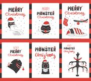 Moldes dos cartões dos monstro do Natal ilustração do vetor