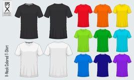 Moldes dos t-shirt do decote em V Modelo colorido da camisa na vista dianteira e na vista traseira para o basebol, futebol, futeb ilustração stock