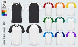 Moldes dos t-shirt do decote em V do Raglan Modelo colorido do jérsei da luva na vista dianteira e na vista traseira para o baseb Fotos de Stock Royalty Free
