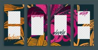 Moldes editáveis na moda das histórias, ilustração do vetor Fundos do projeto para a história social dos meios ilustração royalty free