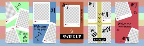 Moldes editáveis na moda para histórias do instagram, venda Fundos do projeto para meios sociais Cartão abstrato tirado mão ilustração royalty free