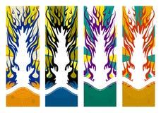 Moldes flamejantes abstratos para bandeiras verticais ilustração royalty free