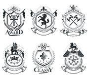 Moldes heráldicos luxuosos do emblema dos vetores Blazons do vetor classy ilustração stock