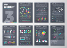 Moldes infographic lisos coloridos no fundo escuro