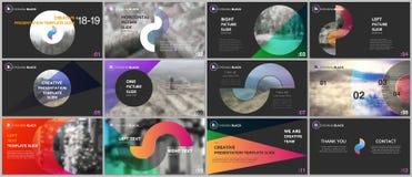 Moldes limpos e mínimos da apresentação Elementos coloridos em um fundo preto Foto de Stock Royalty Free