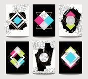 Moldes na moda do folheto do vetor com geometria lisa ilustração stock