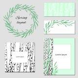 Moldes para o texto, identidade corporativa com um teste padrão delicado do contorno Árvores de vidoeiro com as folhas verdes par ilustração royalty free
