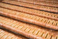 Moldes para produzir telhas de telhado cerâmicas asiáticas na oficina da produção fotos de stock royalty free