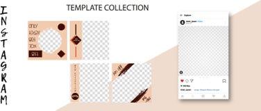 Moldes sociais na moda da rede Bandeiras sociais dos meios para seu projeto Zombaria editável do cargo de Instagram acima ilustração royalty free