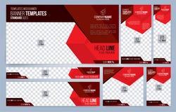 Moldes vermelhos e pretos das bandeiras da Web foto de stock
