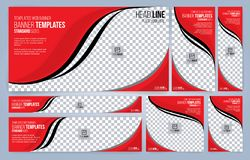 Moldes vermelhos e pretos das bandeiras da Web fotografia de stock
