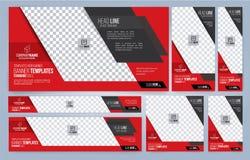 Moldes vermelhos e pretos das bandeiras da Web imagem de stock