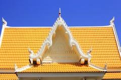 Molding art on pediment of Thai temple. Colorful of molding art on pediment of Thai temple Stock Photography